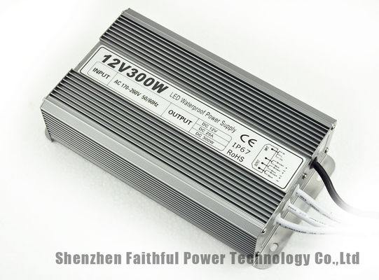 China 300W Waterproof IP67 LED Light Power Supply DC12V 25A Fins Radiator LED Driver factory